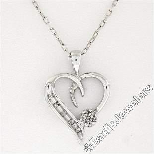 10kt White Gold Pave Set Single Cut Diamond Open Heart