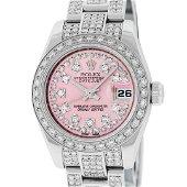 Rolex Ladies New Style Pink Iced 4 ctw Diamond Datejust