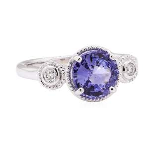 2.08 ctw Blue Sapphire and Diamond Ring - 14KT White