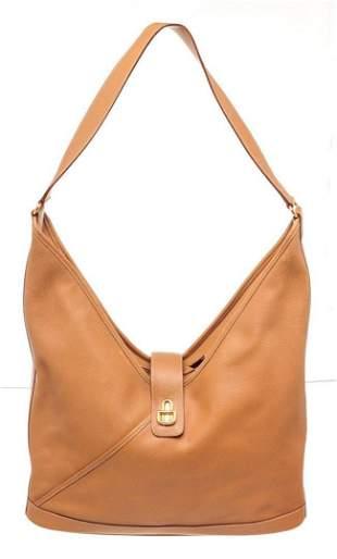 Hermes Brown Leather Lock Gulliver Shoulder Bag