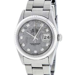 Rolex Mens Stainless Meteorite Diamond 36MM Oyster