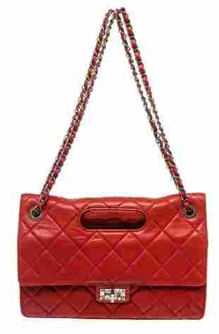 Chanel Red Leather Jumbo Shoulder Bag