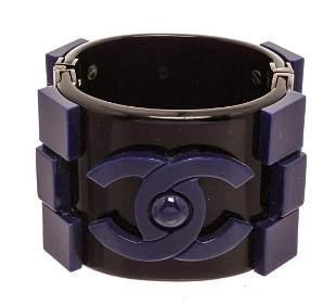 Chanel Black Blue Resin Boy Brick Bracelet