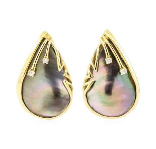 0.10 ctw Diamond and Black Mother of Pearl Teardrop