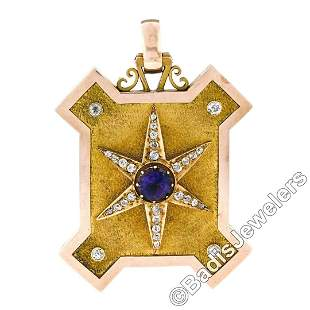 Victorian 15kt Gold 4.40 ctw Amethyst and Diamond Large