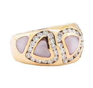 0.95 ctw Diamond and Mother of Pearl Ring - 14KT Rose