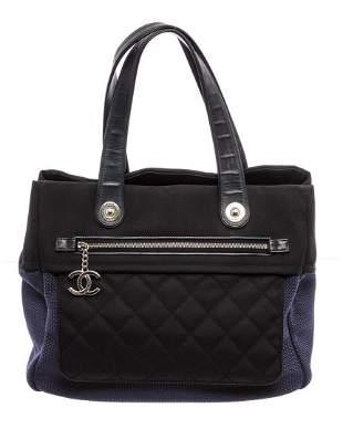 Chanel Black Blue Nylon Rue Cambon Large Shopping Tote