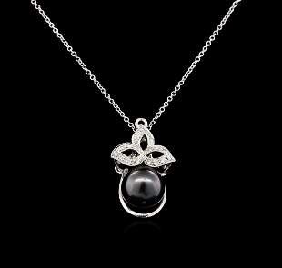 0.16 ctw Pearl and Diamond Pendant - 14KT White Gold
