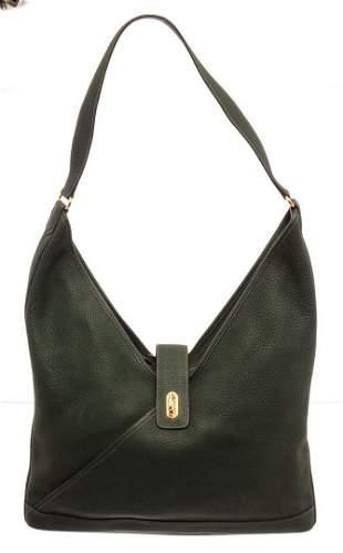 Hermes Black Leather Hobo Bag