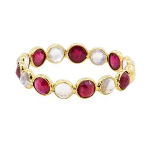 1.40 ctw Ruby and Moonstone Eternity Ring - 18KT Yellow