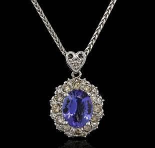 3.56 ctw Tanzanite and Diamond Pendant With Chain -