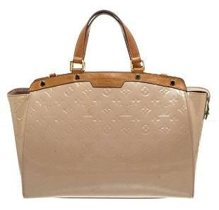 Louis Vuitton Beige Vernis Leather Brea GM Satchel Bag