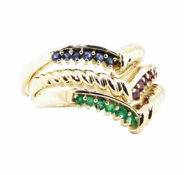 0.60 ctw Emerald, Ruby, and Sapphire Stackable Ring Set