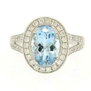 Modern 18K White Gold 3.07 ctw Oval Aquamarine Diamond