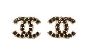 Chanel CC Black Earring