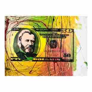 50 Dollar Bill by Steve Kaufman (1960-2010)