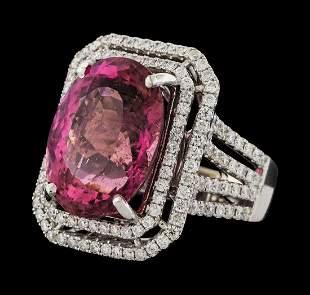 16.15 ctw Pink Tourmaline and Diamond Ring - 14KT White
