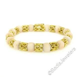 Vintage 18kt Yellow Gold Twisted Link Bracelet w/