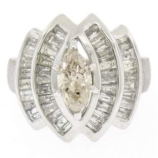 14K White Gold 1.74 ctw Diamond Engagement Ring w/