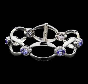 4.60 ctw Tanzanite and Diamond Bracelet - 14KT White