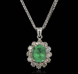 2.52 ctw Emerald and Diamond Pendant With Chain - 14KT