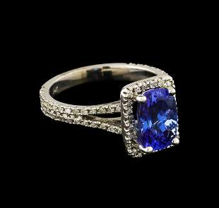 2.36 ctw Tanzanite and Diamond Ring - 14KT White Gold