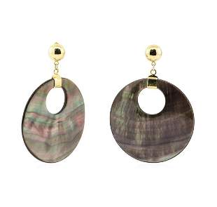 Black Mother of Pearl Coin Dangle Earrings - 14KT