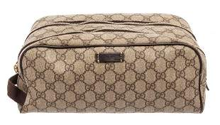Gucci GG Beige Supreme Leather Toiletry Pouch Cosmetic