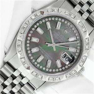 Rolex Mens Stainless Steel Black MOP Baguette Diamond