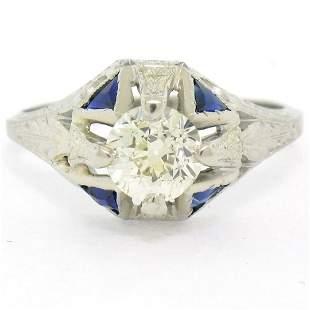 Antique Art Deco 20kt White Gold Diamond and Sapphire