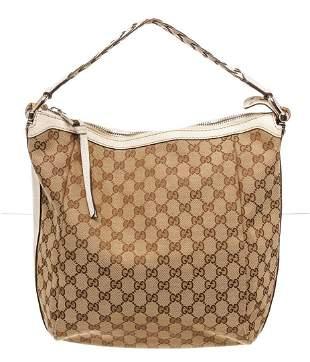 Gucci Brown Canvas Bamboo Bar Hobo Bag