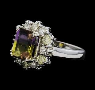 2.50 ctw Ametrine Quartz and Diamond Ring - 14KT White