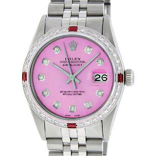 Rolex Mens Stainless Steel Pink Diamond & Ruby 36MM