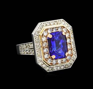 14KT Rose and White Gold 4.29 ctw Tanzanite and Diamond