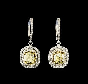 4.08 ctw Fancy Yellow Diamond Earrings - 14KT White and