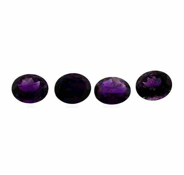 18.42 ctw.Natural Oval Cut Amethyst Parcel of Four