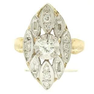 14k Two Tone Gold .55 ctw European Diamond Solitaire