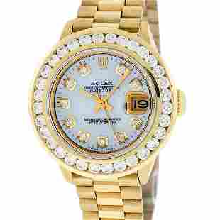Rolex Ladies 18K Yellow Gold President Mother Of Pearl