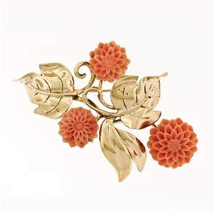 Vintage Gilbert 14K Yellow Gold Detailed Carved Coral