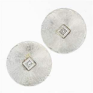 Vintage 14K White Gold Round Circular Disk & Diamond