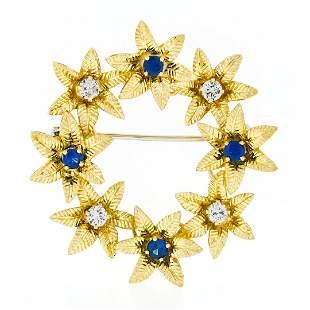 Vintage 18k Gold 1.19 ctw Brilliant Sapphire & Diamond