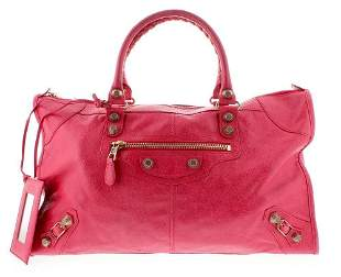 Balenciaga Coral Pink Lambskin Leather Rose Gold Giant