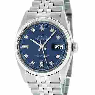 Rolex Mens Stainless Blue Diamond 36MM Oyster Perpetaul