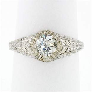 Vintage 14k White Gold 0.68 ctw Old Cut Diamond