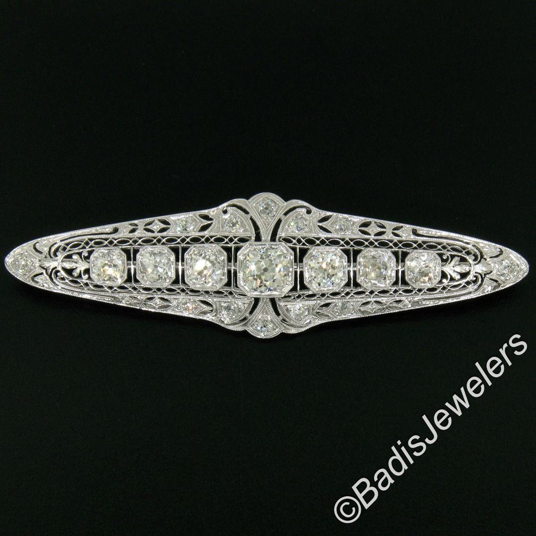 Art Deco Platinum 6.00 ctw Old European and Mine Cut