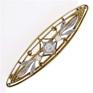 Antique Art Nouveau Krementz 14k Gold Diamond Pearl