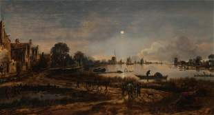 Aert van der Neer - River View by Moonlight