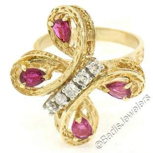 Vintage Detailed 14kt Yellow Gold 1.35 ctw Pear Ruby