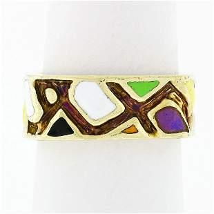 Vintage Martine 14k Gold Multicolored Enamel Mosaic