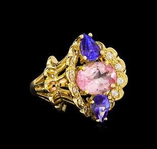 4.20 ctw Multi Gemstone and Diamond Ring - 14KT Yellow